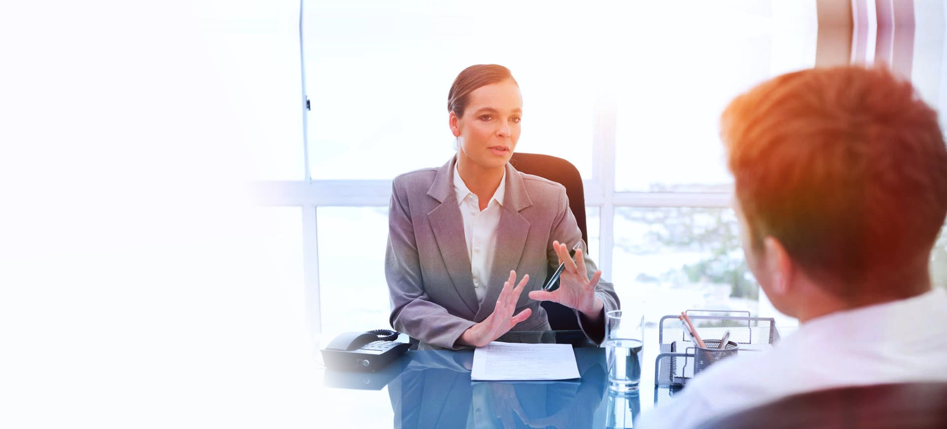 woman talking with client